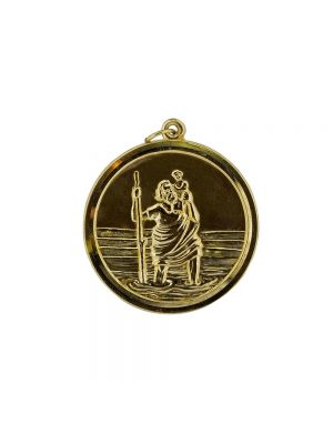 9ct yellow gold saint christophers medal