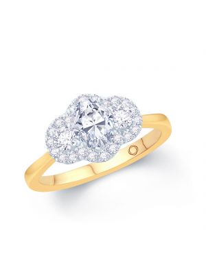18ct yellow gold 3 stone pear and round brilliant diamond ring