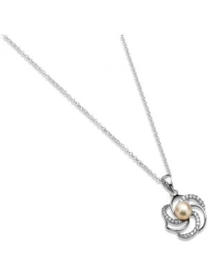 Sterling silver freshwater pearl and cubic zirconia swirl pendant and chain