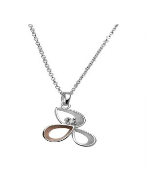 Sterling silver roseplate and silver flower style pendant with one cubic zirconia