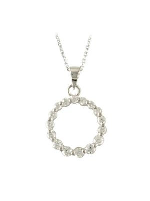 Sterling silver cz claw set circular pendant and chain