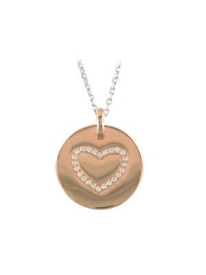 Sterling silver and roseplate heart cz disk and chain