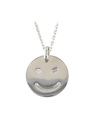 Sterling silver cz smiley face disk and chain