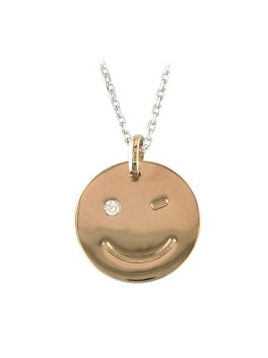 Sterling silver rose plate smiley face cz disk and chain