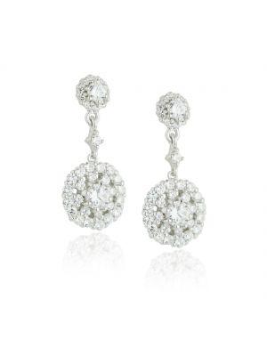 Paul Costello Sterling silver earrings, double crystal cluster drop.