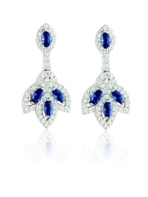 Sterling silver vintage style cubic zirconia & sapphire drop earrings