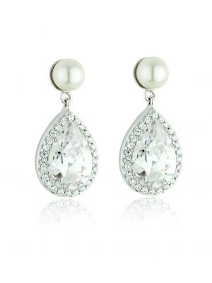 Paul Costelloe Sterling silver pearl and cubic zirconia tear drop earring