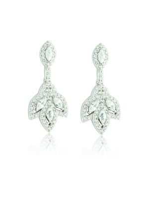 Sterling Silver vintage style marquise shape drop earring