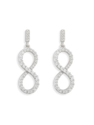 Sterling Silver Infinity style cubic zirconia drop earrings