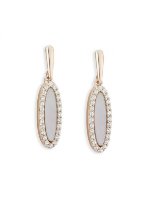 Paul Costello Sterling silver crystal and pink mother of pearl rose drops