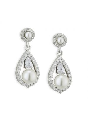 Paul Costelloe Sterling Silver Oval Shape Crystal Earrings