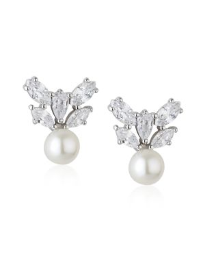 Paul Costelloe Aurora Sterling silver freshwater pearl & cz stud earrings