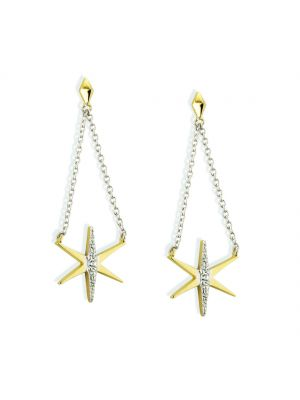 Paul Costello Sterling Silver Crystal Set Yellow Star Chain Drop Earrings