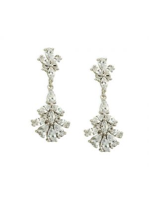 Paul Costello Sterling Silver Crystal Set Flower Drop Earrings