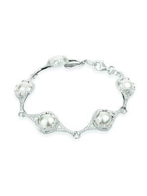 Paul Costelloe Sterling Silver Victorian cubic zirconia & pearl bracelet