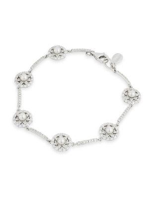Paul Costelloe Sterling Silver cubic zirconia & pearl cluster bracelet
