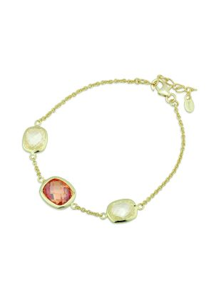 Paul Costelloe Sterling Silver & Yellow plated stone set bracelet