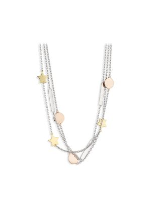 Paul Costelloe Aurora sterling silver three tone layered star necklet