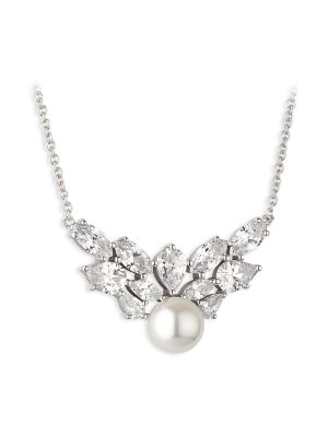 Paul Costelloe Aurora Sterling silver freshwater pearl & cz necklet