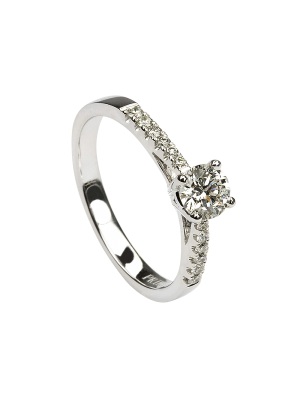 Sterling silver round brilliant cubic zirconia with cubic zirconia down each shoulder promise ring