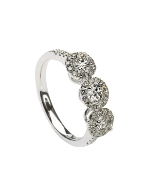 Sterling silver three stone cubic zirconia cluster promise ring with cubic zircoinia down each shoulder