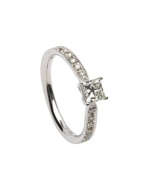 Sterling silver princess cut cubic zirconia with cubic zirconia down each shoulder