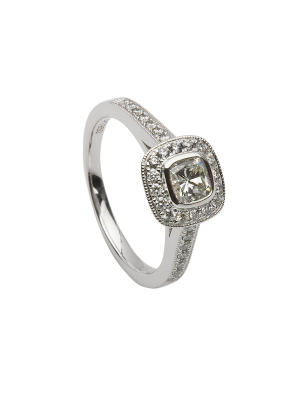 Sterling Silver cushion shape rubover halo style ring with cubic zirconia down each shoulder