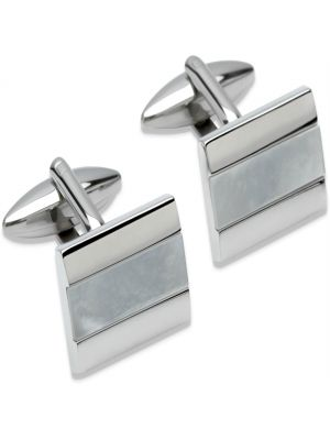 Stainless Steel Cufflinks with mother of pearl detail
