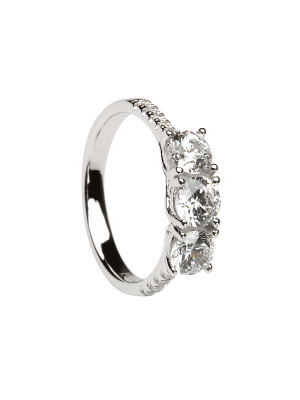Sterling silver three stone cubic zirconia ring with cubic zirconia down each shoulder