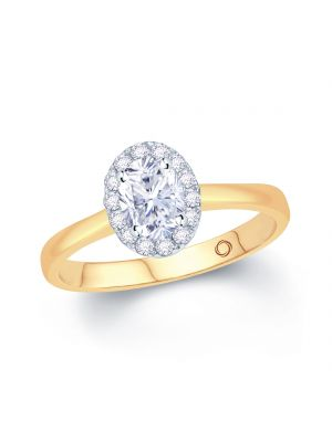 18ct yellow gold oval cut diamond solitaire engagement ring