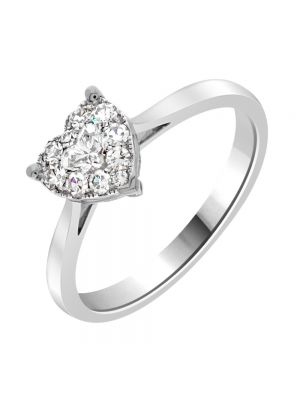 18ct White Gold Heart Shaped Diamond Ring