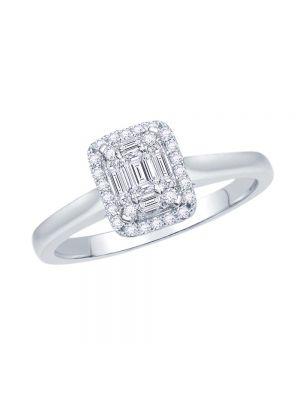 18ct White Gold Rectangular Diamond Ring