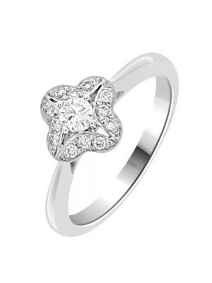 18ct White Gold Antique Style Cluster Engagement Ring