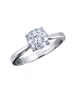 18ct White Gold Solitaire Outlook Cluster Diamond Ring