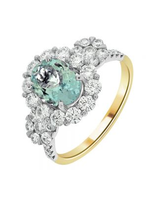 18ct Yellow Gold Diamond and Aquamarine Ring