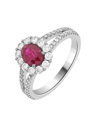 18ct White Gold Oval Ruby and Diamond Surround Ring