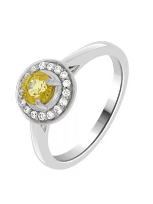 18ct White Gold Citrine and Diamond Halo Ring