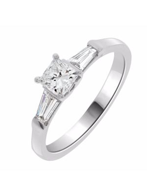 18ct White Gold Princess Cut and Baguette Diamond Engagement Ring