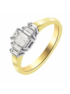 18ct yellow gold emerald cut diamond ring with baguettes each side