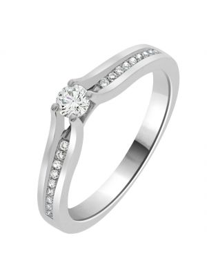 18ct White Gold Round Brilliant Lifted and Diamond Shoulder Engagement Ring