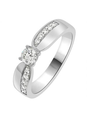 18ct White Gold Solitaire and Offset Diamond Shoulder Engagement Ring