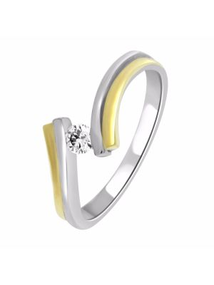 18ct Two-Tone Solitaire Ring with Twist