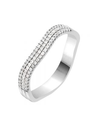 18ct White Gold Three Row Diamond Wedding Band