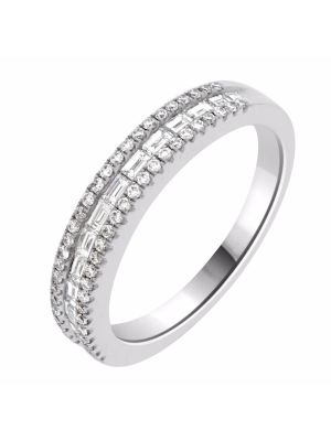 18ct White Gold Baguette and Round Diamond Wedding Band