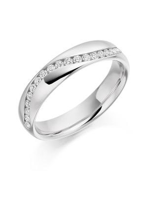 18ct White Gold Swirl Design Diamond Wedding Ring