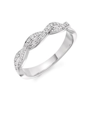 18ct White Gold Two Row Twist Wedding Band