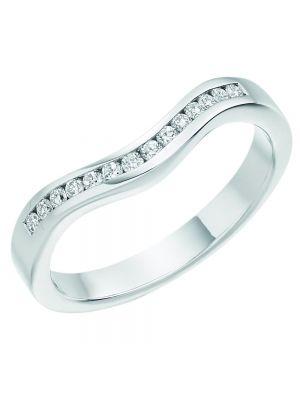 18ct White Gold Ladies Curved Diamond Wedding Band