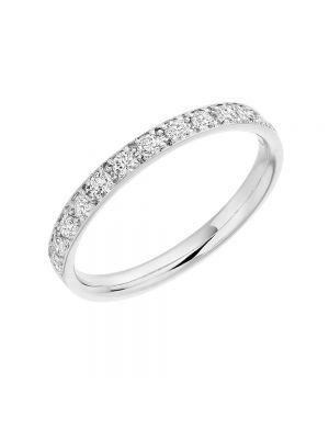 18ct White Gold Round Brilliant Grain Set Diamond Ladies Wedding Band
