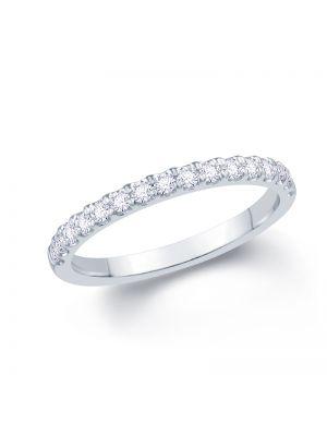 18ct White Gold Round Brilliant Split Claw Diamond Ladies Wedding Band