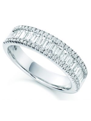 18ct white gold baguette and round brilliant diamond eternity ring